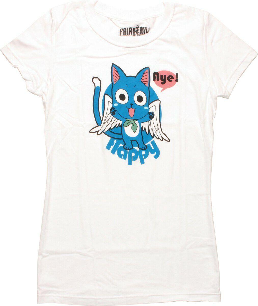 Fairy Tail Angelic Wings Happy Aye Juniors T-Shirt