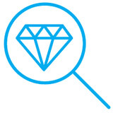 magnifying glass and diamond icon