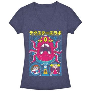 Dexter's Lab Monster Art V Neck Juniors T-Shirt