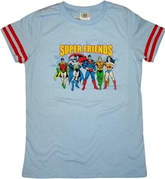 Super Friends Group Line Juniors T-Shirt