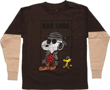 Peanuts Snoopy Bro Code Long Sleeve Youth T Shirt