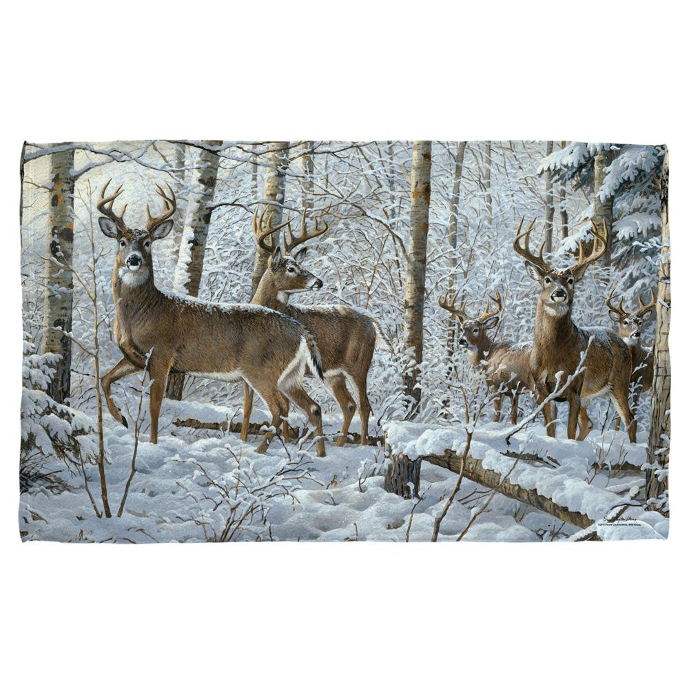 Wild Wings Snowy Deer Towel White