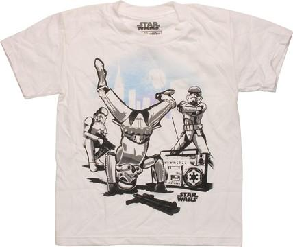 Star Wars Breakdancing Troopers Juvenile T-Shirt, , small